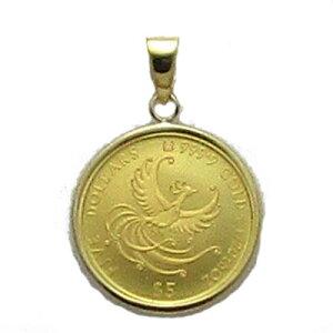 【世界限定1500枚】【チェーン付き/リバーシブル】フェニックス1/20オンスコインペンダント【K18/18金&K24/純金】[インゴット/コイン/ゴールドインゴット/インゴットペンダント/メダル/メダル