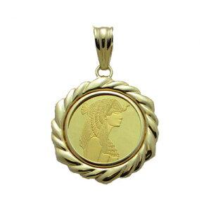 【代引き手数料、送料無料】世界の美女クレオパトラとピラミッドをレリーフした人気商品です クレオパトラ純金貨2.5gペンダント コインペンダント コインネックレス コイン k18 18金 コイン