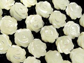 マザーオブパール ホワイト 薔薇彫刻 10mm