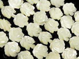 マザーオブパール ホワイト 薔薇彫刻 8mm