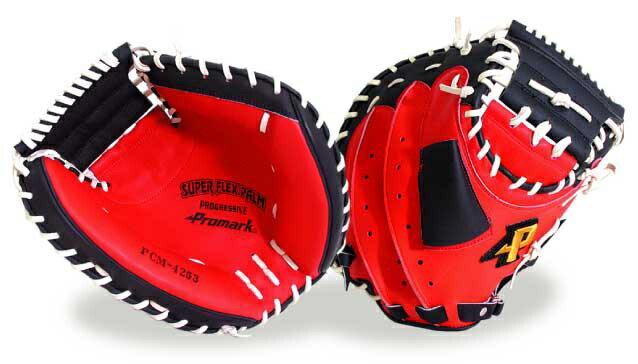 激安!Promarkプロマークの軟式野球キャッチャーミット【赤黒】左投げ 左利き用もあり!野PCM-4253 球用品/グローブ/