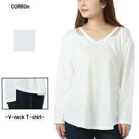 SALE ロンティー 韓国 Vネック カットソー 長袖 ロンT Tシャツ レディース トップス インナー ファッション 韓国風 オルチャン 大人 可愛い ゆったり 大きいサイズ アシンメトリー 無地 シンプル デコルテ おしゃれ 白 AJ53