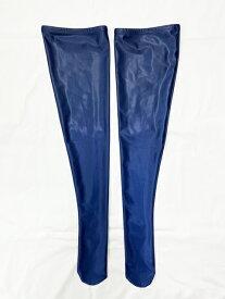 タイツ ハイソックス 靴下 wbb-6065 ナチュラルウェット ロングタイツ レディース M 3L ネイビー 無地 膝上丈