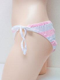 ショーツ wma-720 ボーダー 横ヒモショーツ レディース M LL サックス ピンク しましま 綿100% 女性用下着 インナー パンツ 紐パン パンティ 単品