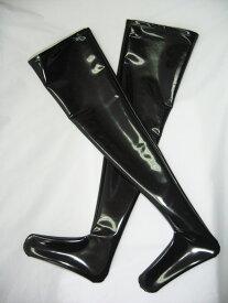 タイツ 靴下 wbb-6067 エナメル ロングブーツ レディース M 3L ブラック 膝上丈 オーバーニー レッグウエア 単品
