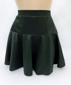 ミニスカート フレアースカート wbb-7370 切り替えし 無地スカート ブラック レディース L 3L 丈37cm 丈40cm 膝上丈