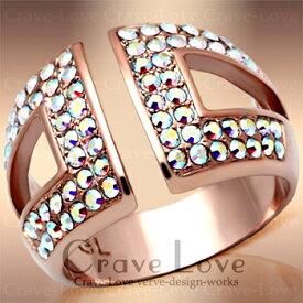 オーロラ クリスタル レインボー パヴェ リング/指輪/虹色/ k18 ピンクゴールド カラー / スワロフスキー ボリュームのある 幅広 デザイン。女性 レディース リング 大きいサイズ もあります。トラベルジュエリー・結婚式・誕生日プレゼントにも・・