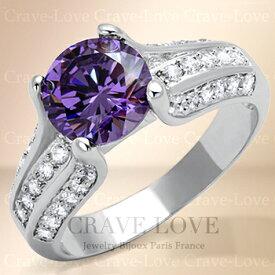 アメジスト 色 クラシック デザイン パヴェ リング/ 指輪 / パープル / 紫色 / 紫水晶色 / AMETHYST / 2月誕生石 / ボリューム感のある海外デザインのリング。 女性 レディース リング 大きいサイズ もあります。【 Crave-Love クレィヴ ラブ 】