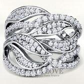 おしゃれリーフモチーフレディースパヴェリング指輪幅広でボリューム感のあるファッショナブルデザイン女性ファッションリング大きいサイズもあります。トラベルジュエリープレゼント結婚式などにも..[Crave-LoveBijouxParis]