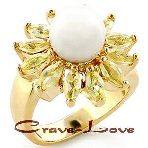 ★素敵なフラワーデザイン・パールゴールドリング 指輪 レディース リング 【6月誕生石 星座石 蟹座】【 Crave-Love クレィヴ ラブ 】