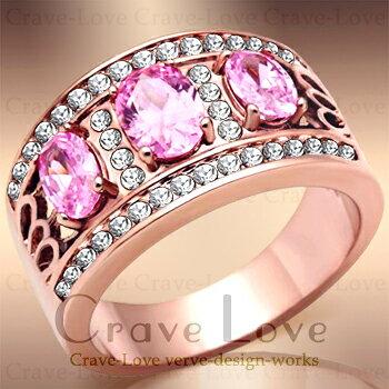 ピンク 3ストーン パヴェ リング   ピンクゴールド カラー   女性 指輪 トリロジー レディース ファッション ジュエリー 大きいサイズ もあります。トラベルジュエリー 誕生日プレゼント 結婚式にも・・【 Crave-Love Jewelry bijoux Paris 】