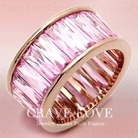 煌めく輝きの豪華 ピンク フルエタニティ リング 指輪 ETERNITY RING/永遠の愛/ キュービックジルコニア(ピンクサファイヤ ピンクダイヤ のような美しい色合い)