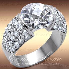 大粒の煌めく輝き 豪華 パヴェ リング/指輪/Silver925キュービックジルコニア(ダイヤモンド色)/ プラチナ色 女性 レディース リング 大きいサイズ もあります。 【 Crave-Love クレィヴ ラブ 】