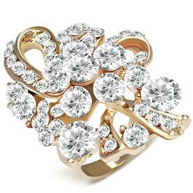 フラワー クリスタル パヴェ ファッションリング/ クリア/指輪 フローラルリング/女性/Floral Ring 【 Crave-Love クレィヴ ラブ 】
