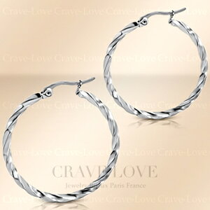 35mm ステンレス フープ ピアス ツイスト S   リングピアス サークルピアス ワンタッチピアス   女性 レディース ピアス   プラチナ シルバー カラー 【 Crave-Love Jewelry bijoux Paris 】