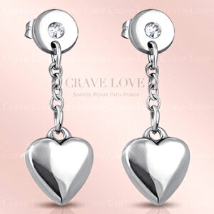 揺れる キュートな ハート ドロップ ステンレス ロング ピアス 女性 レディース ドロップピアス | プラチナ シルバー カラー【 Crave-Love Jewelry bijoux Paris 】