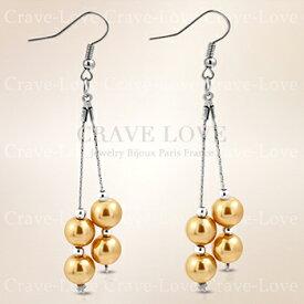 イエローゴールド カラー パール ビーズ ドロップピアス / フックピアス / ロングピアス / 女性 レディース 【 Crave-Love Jewelry bijoux Paris 】