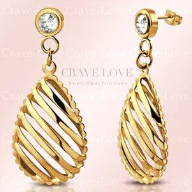 揺れる素敵な ティアドロップ レディース ステンレス ピアス ドロップピアス   ペアシェイプ 涙形 泪形 洋梨形   透かし細工   ダイヤモンド カラー ( クリスタル )   K18 ゴールド カラー 【 Crave-Love Jewelry bijoux Paris 】