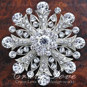 煌き輝く おしゃれ な ブーケット フラワー ブローチ/S シルバーカラー | スワロフスキークリスタル使用 大きいサイズでボリューム感のある おしゃれ なブローチ。【 Crave-Love Jewelry bijoux Paris 】