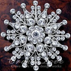 煌き輝く 大きめ デザイン フラワー モチーフ ピン ブローチ N32 | 花 大きいサイズでボリューム感のある おしゃれ なブローチ。【 Crave-Love Jewelry bijoux Paris 】