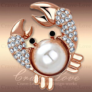 可愛い カニ モチーフ パール パヴェ ピン ブローチ/G/ 蟹 / 真珠(シンセティックパール)/ ホワイト / 白色 K18ピンクゴールド色 / ダイヤ色(キュービックジルコニア)誕生日プレゼントなどにも・・【 Crave-Love Jewelry bijoux Paris 】