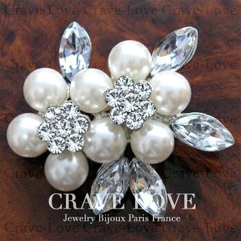 フラワー リーフ デザイン パール ピン ブローチ | 真珠 花 ホワイト 白色 | おしゃれ レディース ビジュー ブローチ | Victorian flower brooch 【 Crave-Love Jewelry bijoux Paris 】
