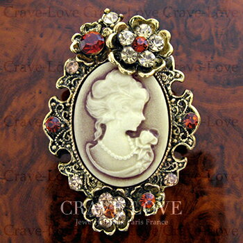 アクリル カメオ フラワー ブローチ | アンティーク ゴールド | A | 花 | ラインストーン | レジン | メタル | CAMEO | 【 Crave-Love Jewelry bijoux Paris 】