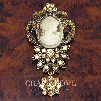 アクリル カメオ フラワー ブローチ | アンティーク ゴールド | C | 花 | ラインストーン | レジン | メタル | CAMEO | 【 Crave-Love Jewelry bijoux Paris 】