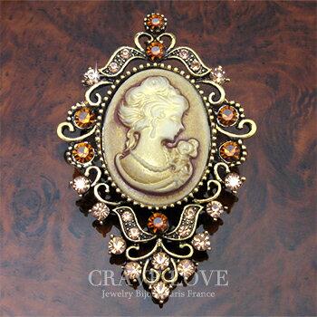 アクリル カメオ フラワー ブローチ | アンティーク ゴールド | L | 花 | ラインストーン | レジン | メタル | CAMEO | 【 Crave-Love Jewelry bijoux Paris 】