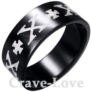 メール便 送料無料 ケルトクロス・ステンレス・リング 指輪/幅広/ブラック/黒/black/十字架 【 Crave-Love クレィヴ ラブ 】
