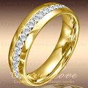 煌めく輝く フルエタニティ ステンレス リング G   6mm 18k K18 ゴールド色   ダイヤ色 (キュービックジルコニア) ファッション リング 指輪...