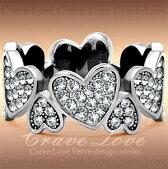 ハートパヴェエタニティステンレスリング/指輪/レディースフルエタニティリング/ハートの指環/【Crave-Loveクレィヴラブ】