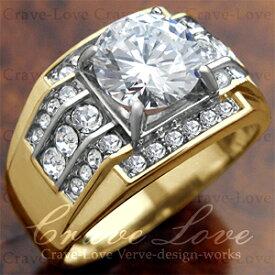 【メンズリング 男の指輪 メンズアクセサリー】豪華デザイン メンズ ステンレス リング RM5-G | 指輪 ボリューム感 幅広 立て爪 | K18 ゴールド カラー |ファッション リング ジュエリー 大きいサイズもあります。【 Crave-Love Bijoux Paris 】