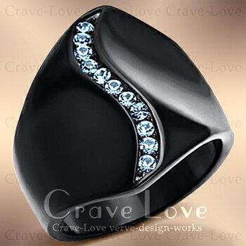 アクアマリン カラー ブラック ステンレス リング/黒/指輪3月誕生石 星座石 牡牛座 天秤座 魚座 個性的で ボリューム感のある 幅広のデザイン。女性 レディース リング 大きめ 大きいサイズ もあります。トラベルジュエリー 誕生日プレゼントにも・