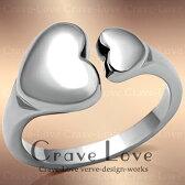 ふっくらとした丸みの可愛いハートステンレスリング/女性指輪レディースリング大きいサイズもあります。トラベルジュエリーにも・・【Crave-Loveクレィヴラブ】
