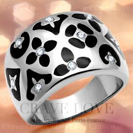 ブラック フラワー パターン ステンレス リング/指輪/フローラル リング/花柄/花模様/スワロフスキー使用 プラチナシルバー色 ボリューム感のある幅広でお洒落な エナメル リング。女性 レディース リング 大きいサイズ もあります。