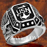 【メンズリング・男の指輪】ミリタリーステンレスカレッジリング/ネイビー/海軍/アメリカ海軍/米国海軍/U.S.N./U.S.NAVY/Military【Crave-LoveCostumeJewelryBijouxParisFrance】