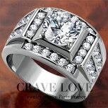 【メンズリング・男の指輪】豪華デザインメンズステンレスリング/指輪/RM20キュービックジルコニア(ダイヤモンド色)シルバープラチナカラーリング