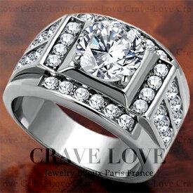 【メンズリング 男の指輪 メンズアクセサリー】豪華デザイン メンズ ステンレス リング/指輪/RM20 ボリューム 幅広 立て爪   プラチナ シルバー カラー ファッション リング ジュエリー 大きいサイズもあります。【 Crave-Love Bijoux Paris 】
