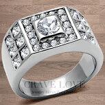 【メンズリング・男の指輪】豪華デザインメンズステンレスリング/指輪/RM22/ダイヤモンドカラー/シルバープラチナカラー【Crave-LoveJewelryBijouxParisFrance】