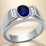 【メンズリング・男の指輪】メンズステンレスリング/サファイア色/指輪/RM24/ダイヤモンドカラー/シルバープラチナカラー/幅広【Crave-LoveJewelryBijouxParisFrance】