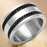 ダブルブラックチェーンメンズステンレスリング指輪幅広/プラチナシルバーカラーピンクゴールドカラー男性女性ともに使えるユニセックスデザイン。大きいサイズもあります。【Crave-LoveJewelrybijouxParis】