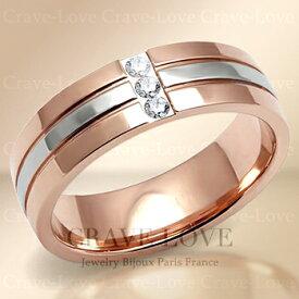 クリスタル ピンクゴールド ステンレス リング/指輪/ 幅広 スワロフスキークリスタル(ダイヤモンド色) K18 ゴールドカラー / プラチナシルバーカラー 女性 レディース リング 大きいサイズ もあります。【 Crave-Love Jewelry bijoux Paris 】
