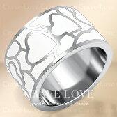 ホワイトエナメルハートステンレスリング/指輪/幅広エナメル/オフホワイト/アイボリー/クリーム色/プラチナシルバーカラー/女性レディースリング大きいサイズもあります。【Crave-Loveクレィヴラブ】
