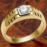 【メンズリング・男の指輪・メンズアクセサリー】豪華デザインメンズステンレスリング/指輪/RM25-Gキュービックジルコニア(ダイヤモンド色)/K18ゴールド色幅広/大きいサイズもあります。【Crave-Loveメンズジュエリー】