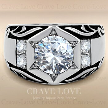 【メンズリング 男の指輪 メンズアクセサリー】豪華デザイン シルバー ステンレス メンズ リング RM30 指輪 ボリューム 幅広 ツタ模様   キュービックジルコニア ファッション リング 大きいサイズもあります。【 Crave-Love Bijoux Paris 】
