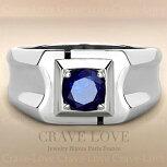 【メンズリング男の指輪メンズアクセサリー】メンズステンレスリングRM26|サファイアブルー色|指輪男性ファッションリング大きいサイズもあります。【Crave-LoveBijouxParis】