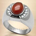 【メンズリング男の指輪メンズアクセサリー】ブラウンオニキスシルバーステンレスメンズリングRM31指輪男性幅広|茶色メノウ瑪瑙ONYX|パワーストーンメンズファツションリング大きいサイズもあります。