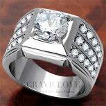 【メンズリング男の指輪メンズアクセサリー】豪華デザインメンズステンレスリング/指輪/RM32ボリューム幅広立て爪|プラチナシルバーカラーファッションリングジュエリー大きいサイズもあります。【Crave-LoveBijouxParis】