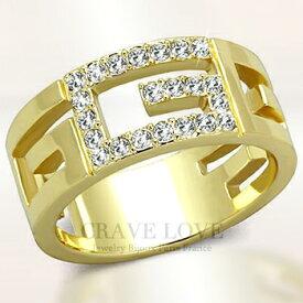 バックル モチーフ ゴールド ステンレス レディース リング 指輪 スワロフスキー クリスタル | K18 ゴールド カラー | 幅広 人気 女性 ファッション リング 大きいサイズもあります。トラベルジュエリー 誕生日プレゼントにも.[Crave-Love Bijoux Paris]